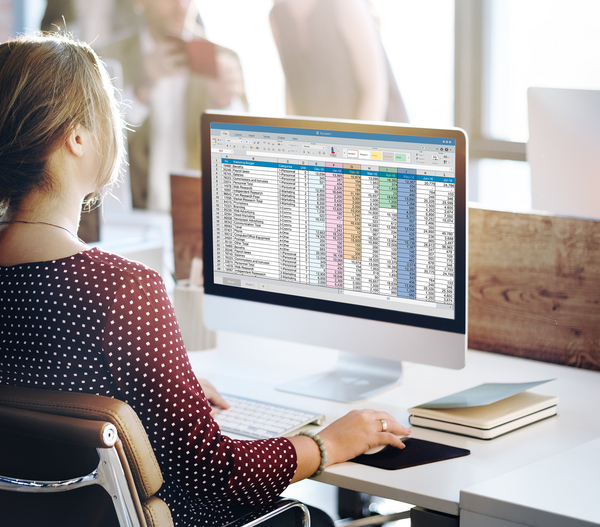 Woman working with excel on her desktop computer.