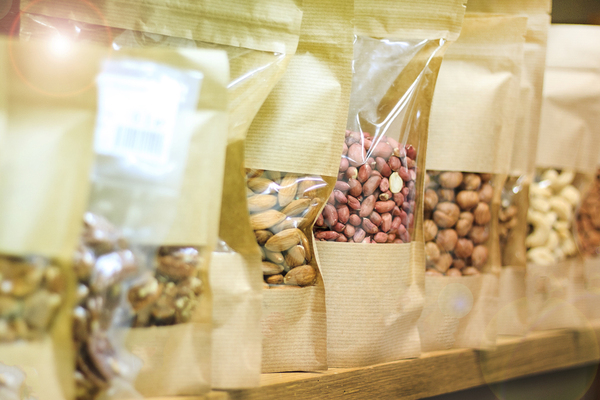 Packages of nuts and legumes.