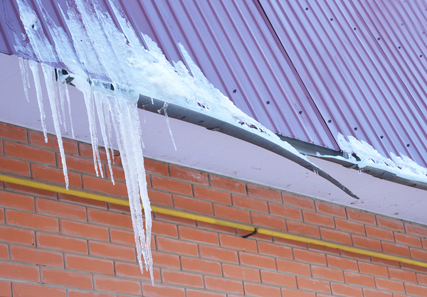Metal roof with icicles.