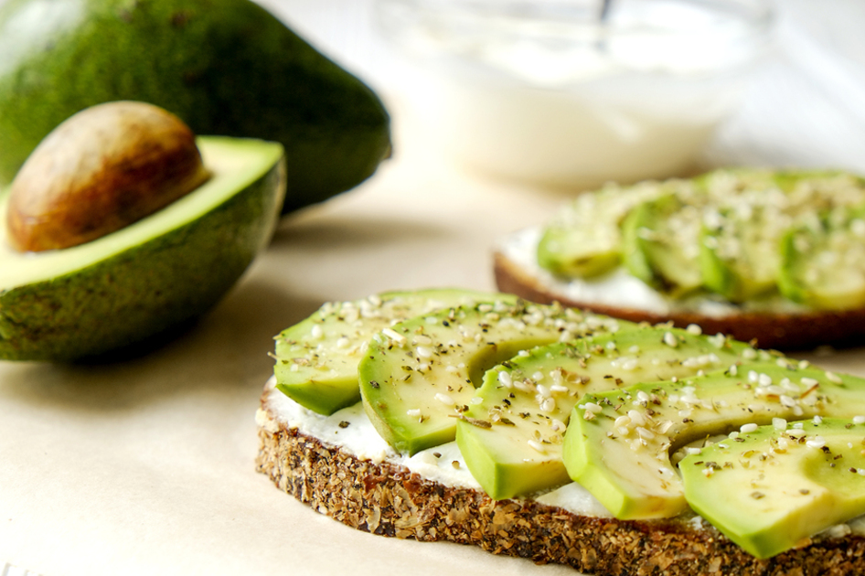Slices of bread with avocado.
