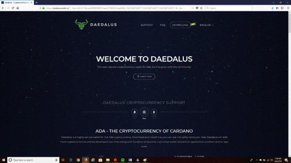 Home page for the Daedalus website.