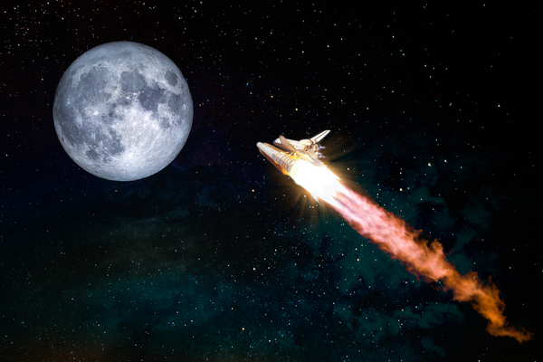 Rocket blasting to the moon.