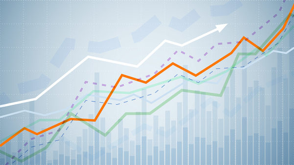 Line graphic showing upward growth.