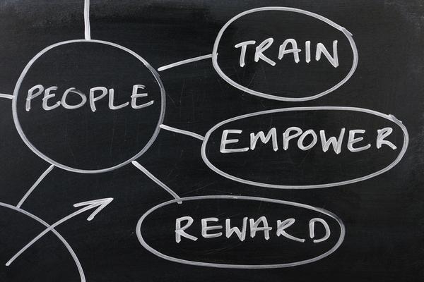 People, train, empower and reward written on a chalkboard.