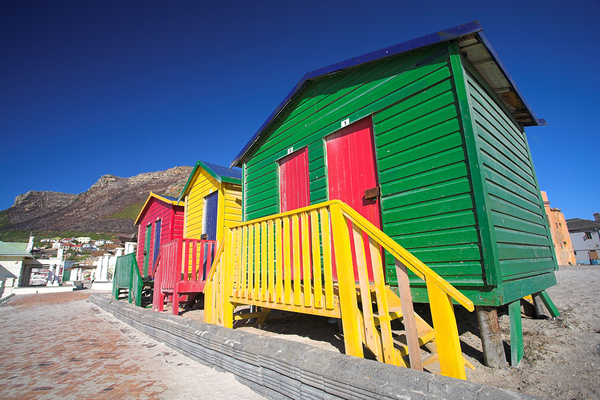 Row of colorful cottages.