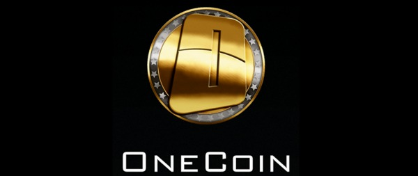 Onecoin logo which is a silver coin with gold in the center and a large 1.