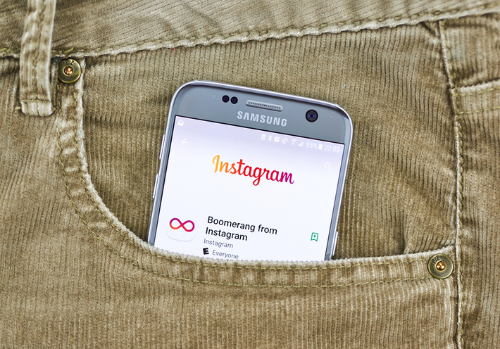 Mobile phone with the Instagram app onscreen.