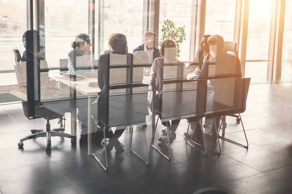 Group meeting around a large conference table.