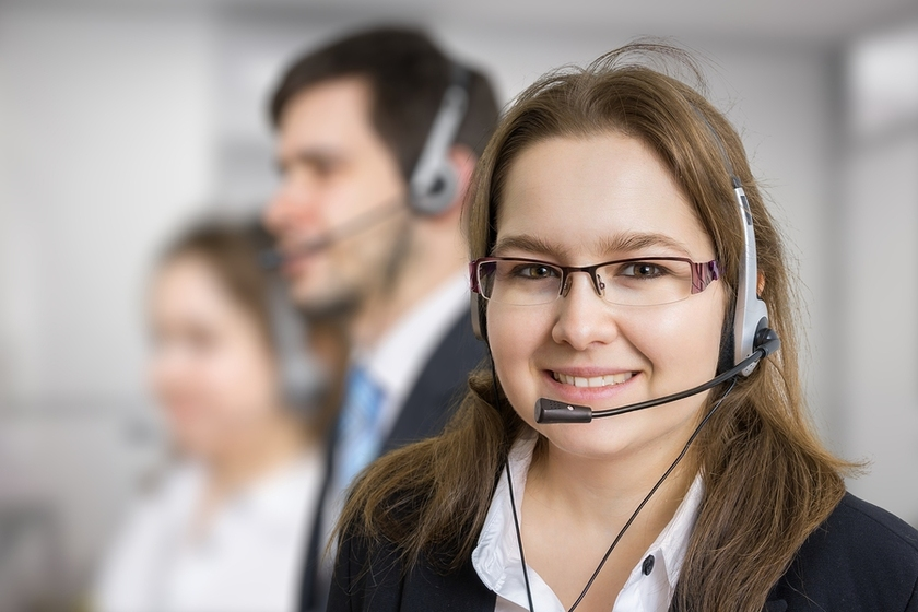 Happy call center rep.