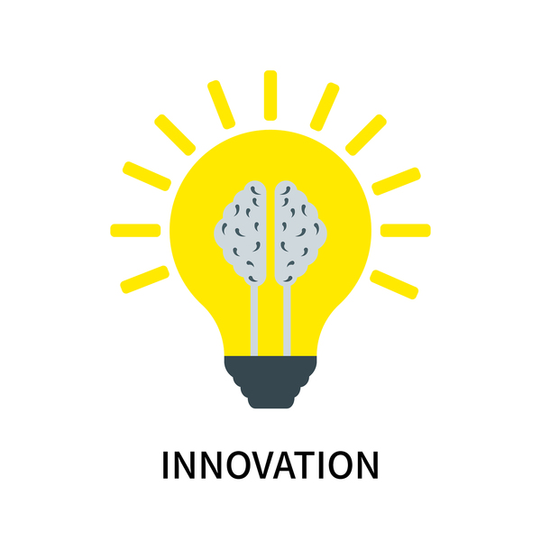 Yellow light bulb with the word innovation.