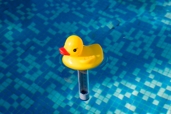 Rubber ducky shaped water temperature thermometer.