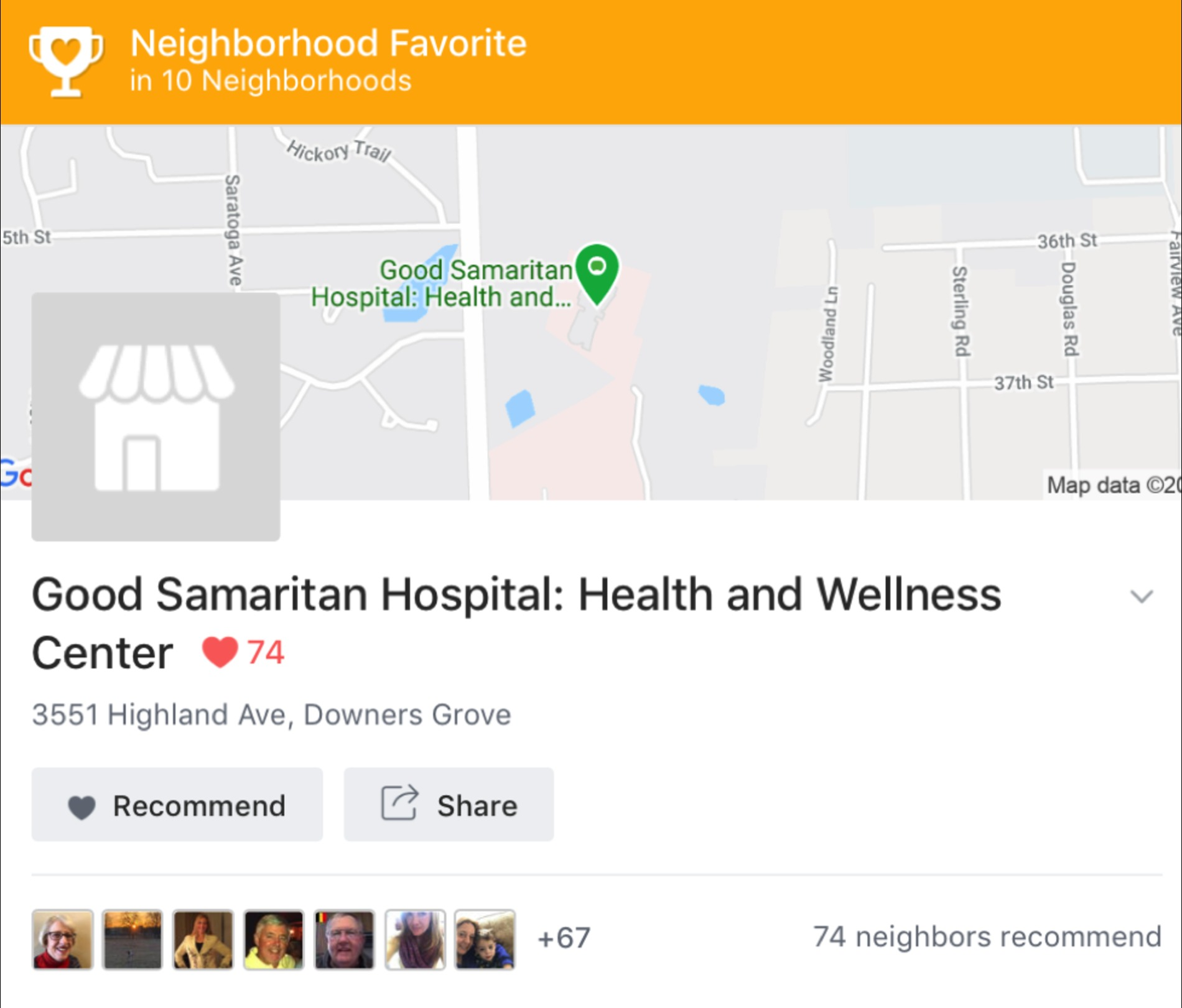 Next-door app showing Neighborhood Favorite.