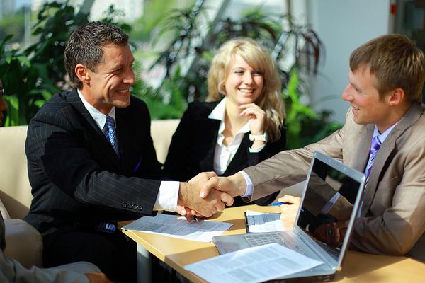 Handshake between two businessmen.