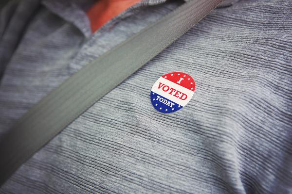 Person with a I voted today sticker.