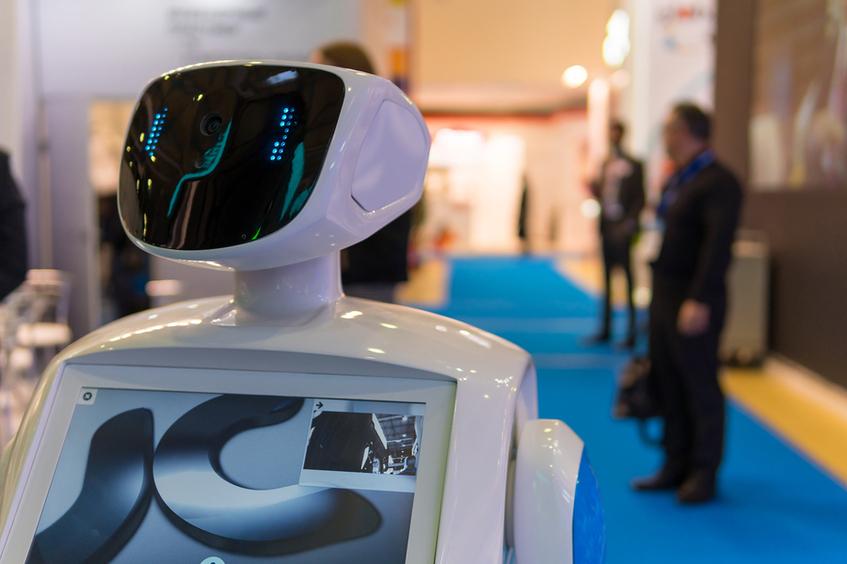Robot at a trade show.