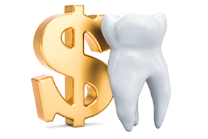 Gold dollar sign with a tooth.