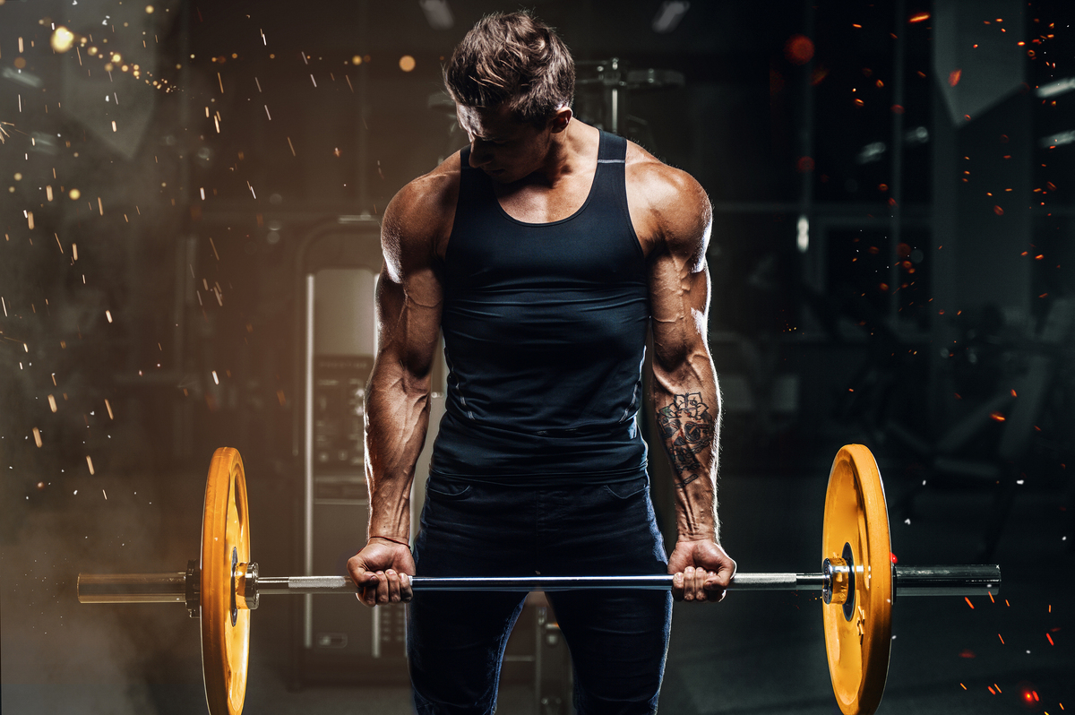 Bodybuilder lifting a barbell.
