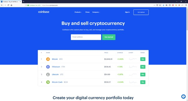 Coinbase buy and sell cryptocurrency page.