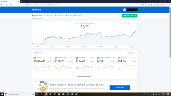 Coinbase buy sell page.