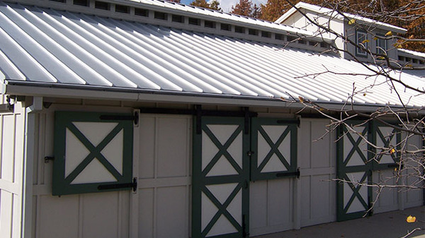 Barn with metal roof.