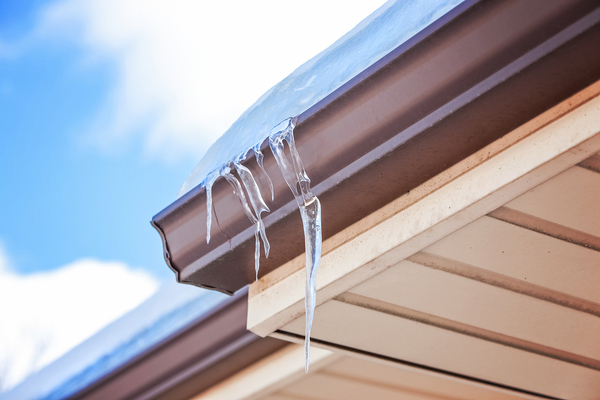 Gutter with icicles.