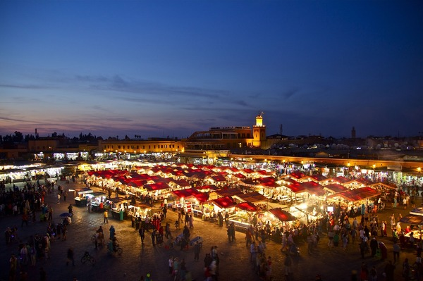 Morocco all lit up at night.