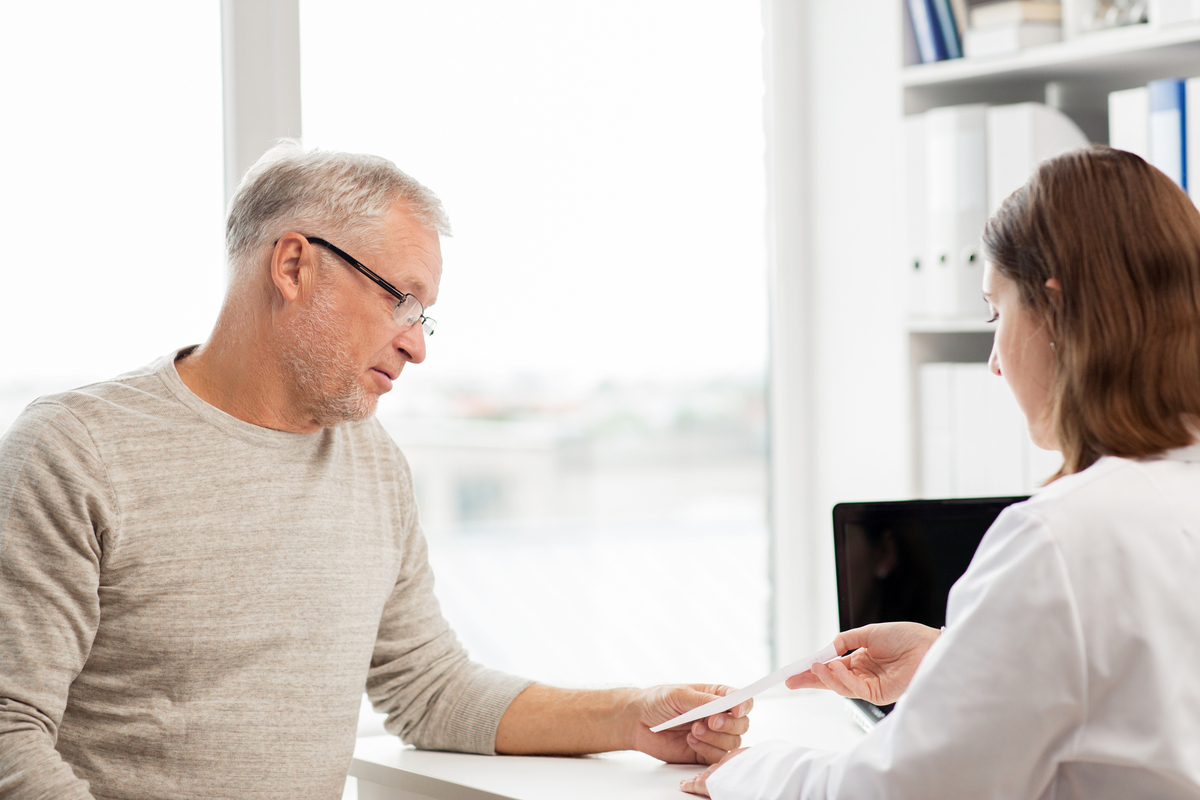 Male patient seeking advice from a medical doctor.