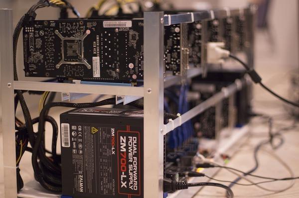Bitcoin mining hardware.