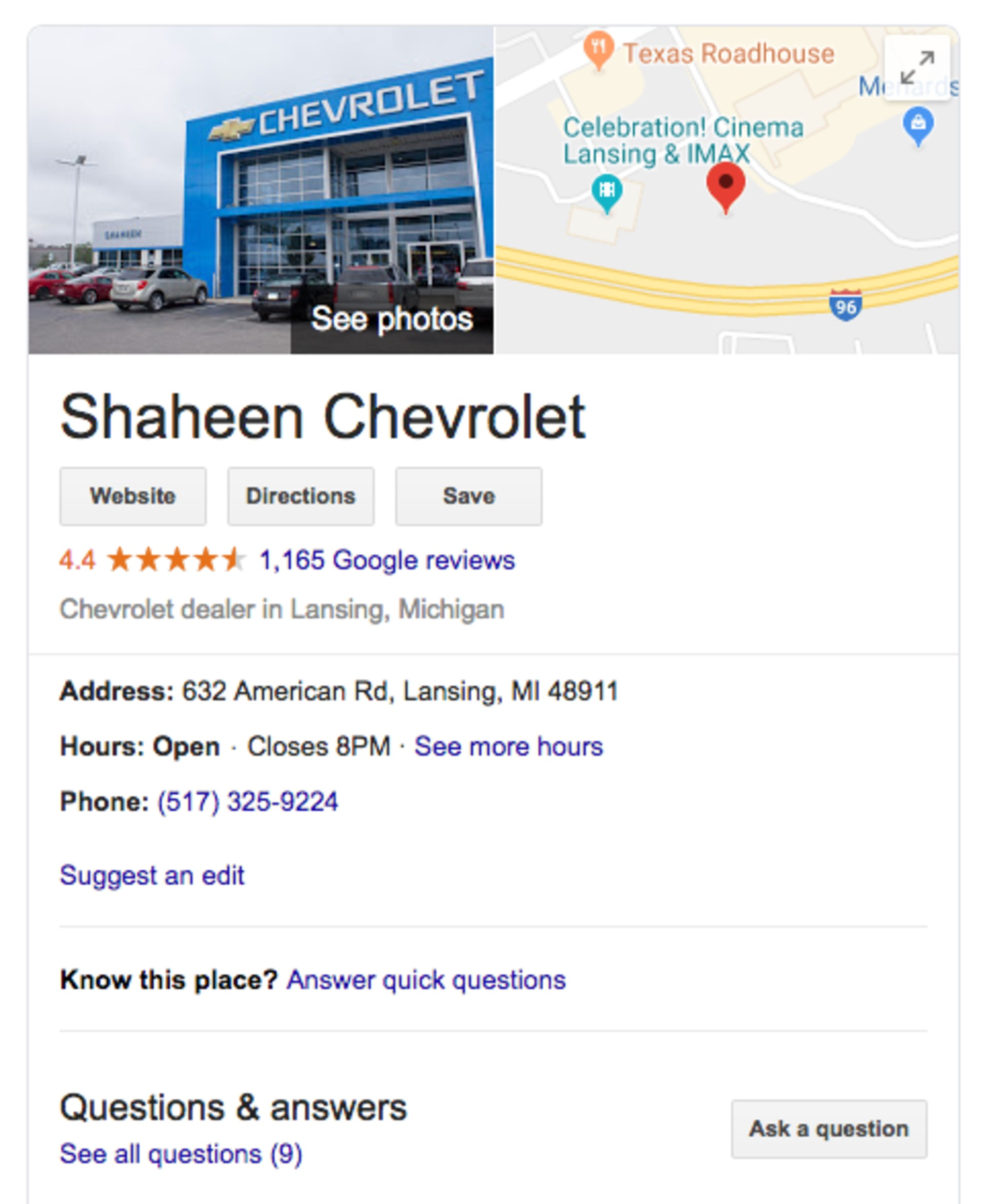 Google My Business example for Shaheen Chevrolet.