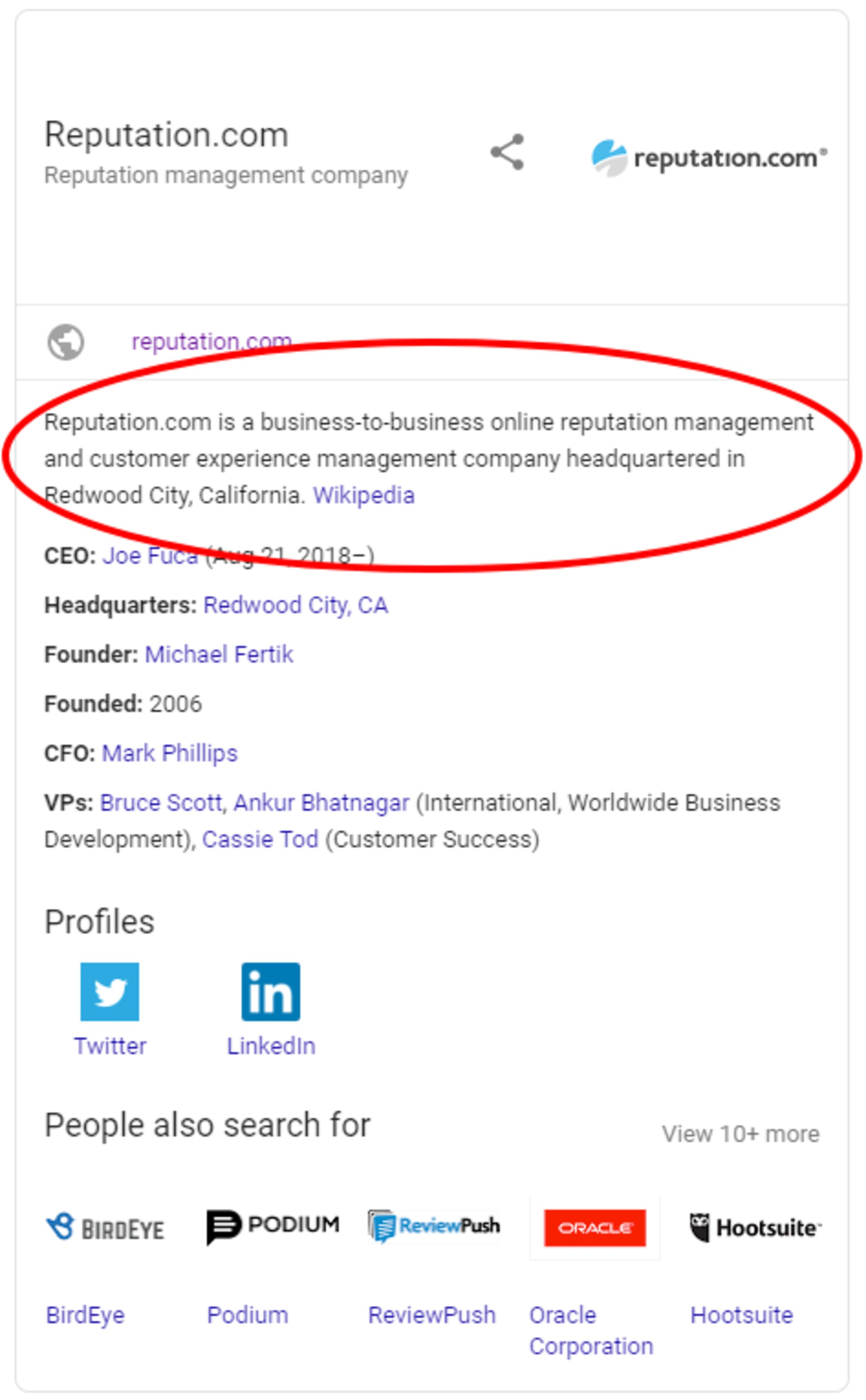 Screenshot of Reputation.com's Google business listing.