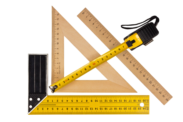 Different types of measuring rulers.