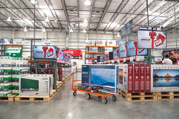 Warehouse filled with electronic equipment.