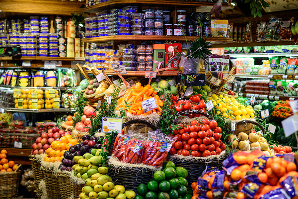 Grocery display of produce.