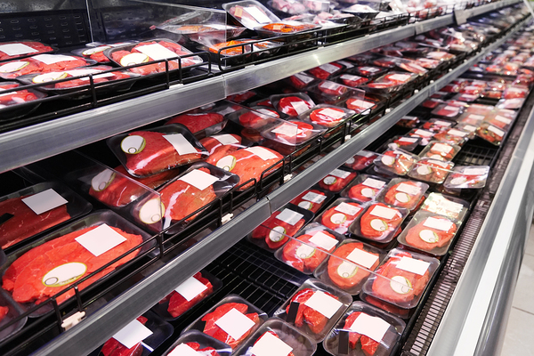 Meat grocery isle.