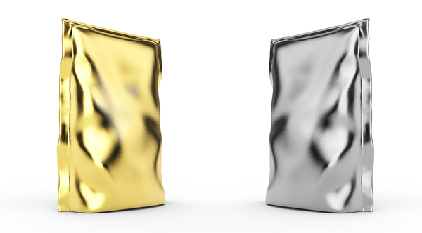 Gold and silver food packaging.