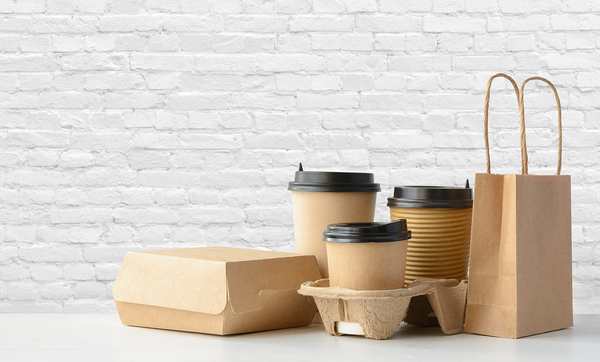 Brown packaged coffee cups and food containers.