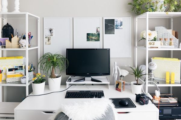 Desk with computer, plants and camera.