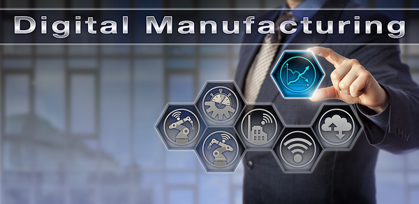Businessman pointing to a graphic with several icons and the words digital manufacturing.