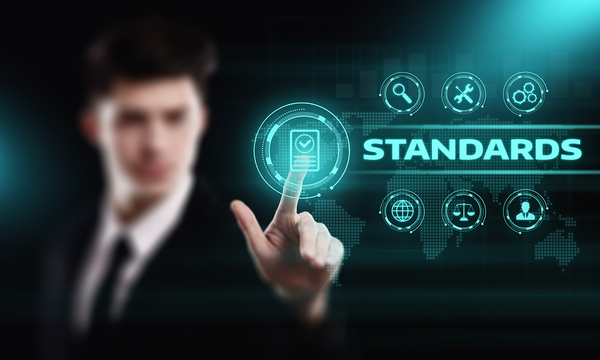 Man in a business suit pointing to an icon with the word standards next to it.
