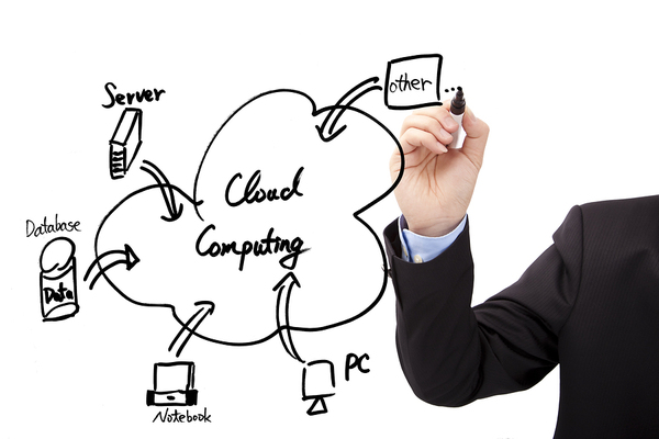 Person drawing on a whiteboard about the cloud computing process.